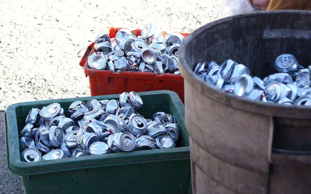 Piles of aluminum cans await to be recycled at Grass Valley Recycle off Idaho Maryland Wednesday afternoon.
