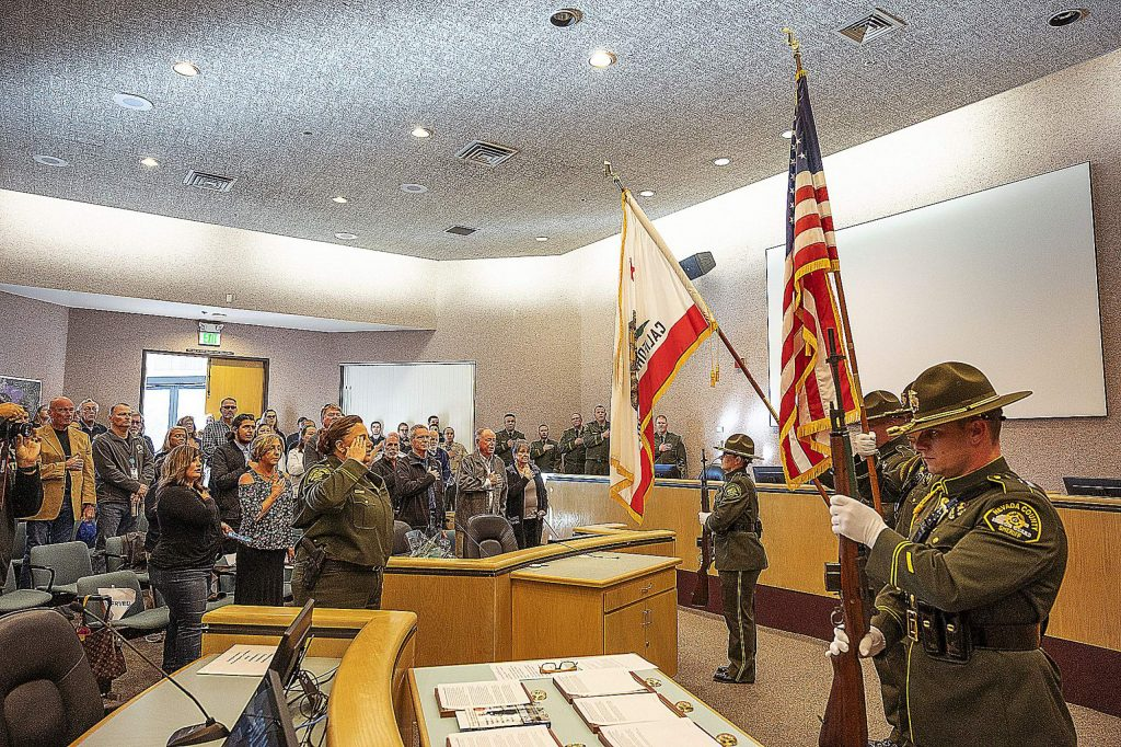 The Nevada County Sheriff's Honor Guard during the Pledge of Allegiance.