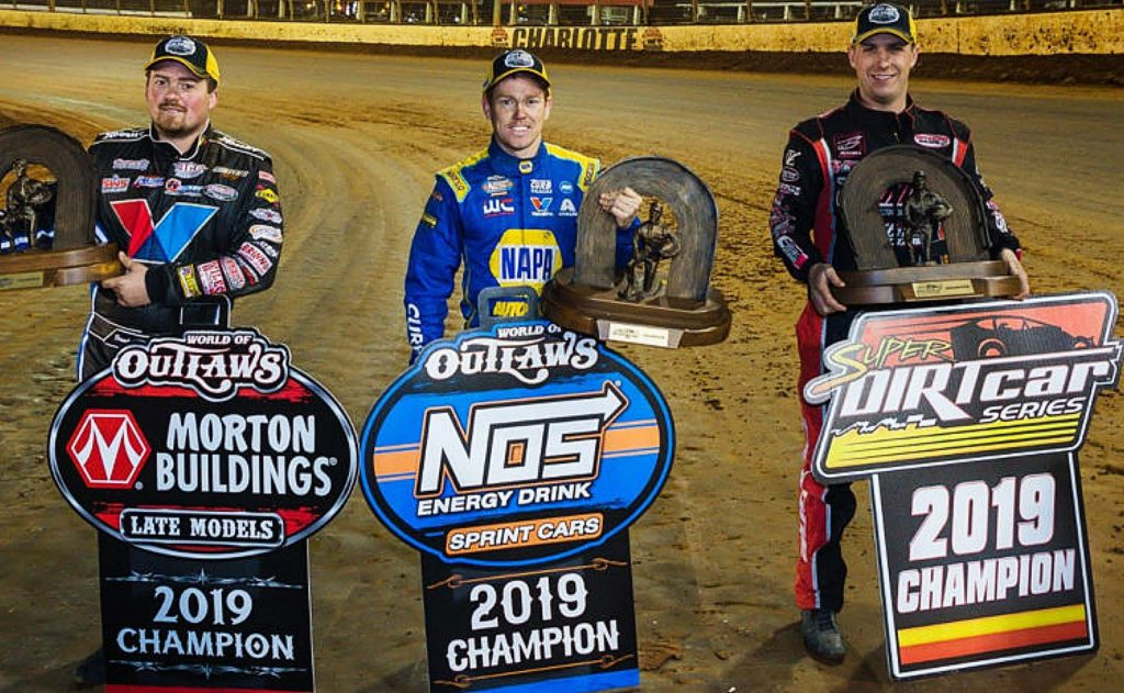 Brad Sweet, middle, beat 10-time and reigning Series champion Donny Schatz by four-points to claim the World of Outlaws Sprint Car Series Championship.