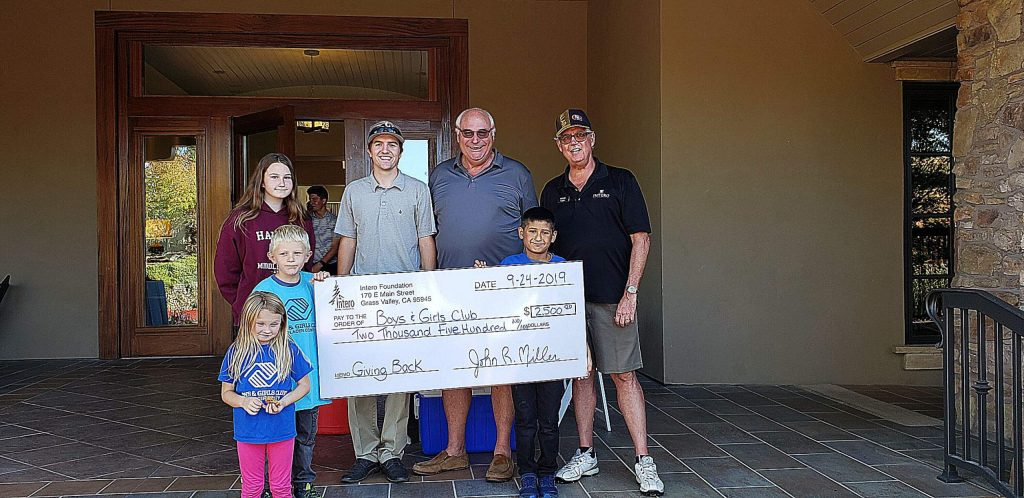 Representatives from the Intero Foundation donated $2,500 to the Boys and Girls golf event at Winchester Golf course in Meadow Vista.