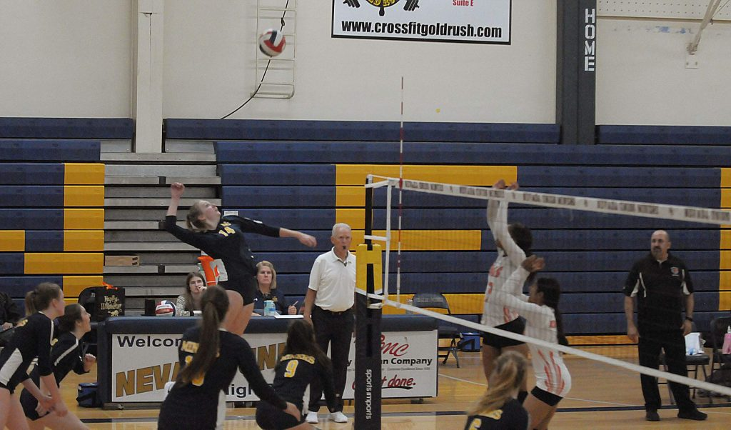 Nevada Union's Emerson Dunbar (14) tallied four kills during a Sac-Joaquin Section playoff win over Kimball Thursday night.