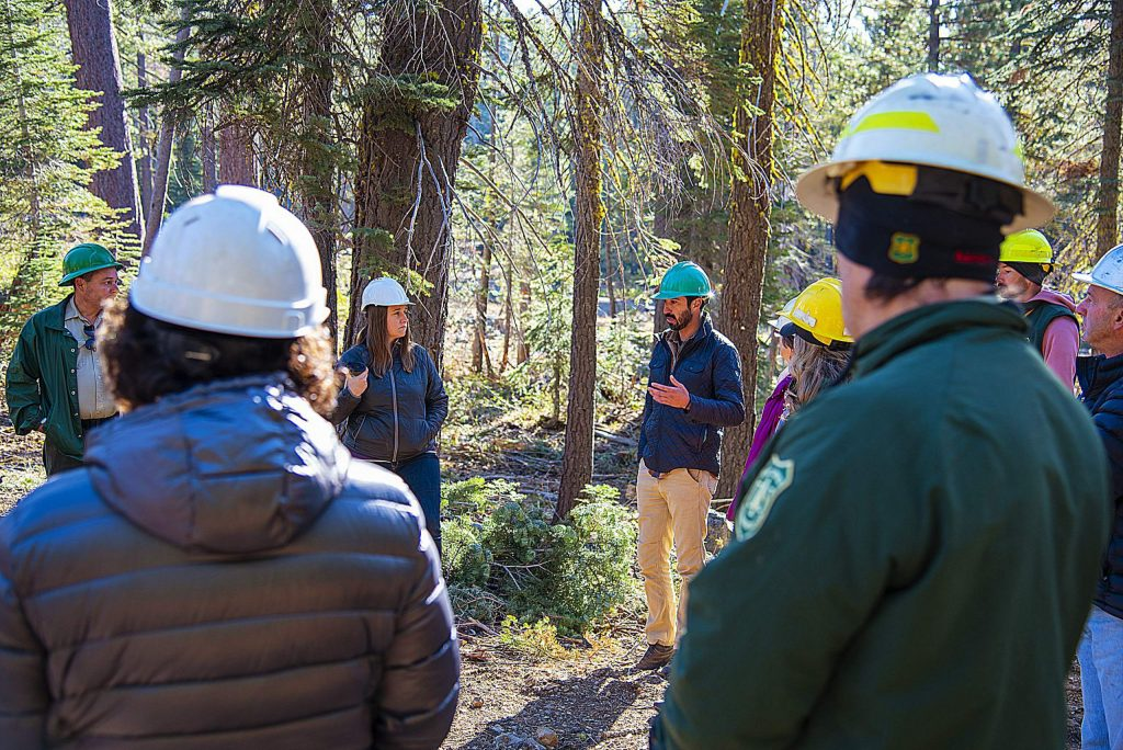 Members of the North Yuba Forest Partnership attend a field tour of the Yuba Project in the Tahoe National Forest to discuss opportunities in the region.