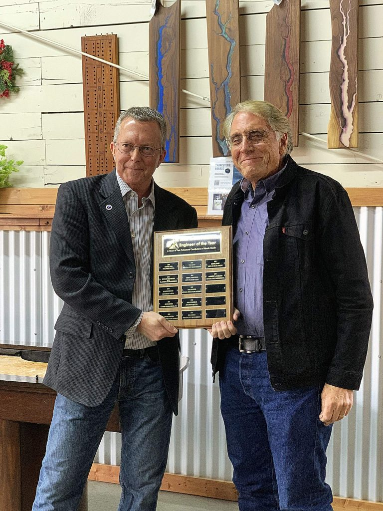 From left, Rich Peevers, president of the Engineer's Association of Nevada County; and Andrew Cassano, Nevada City Engineering. Cassano received the 2019 Engineer of the Year Award from the Engineer's Association of Nevada County.