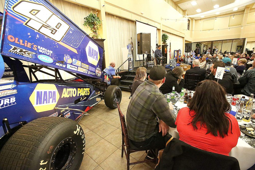 Brad Sweet's World of Outlaws Sprint Car series car was on display during the welcome home dinner Thursday at the Foothills Event Center.
