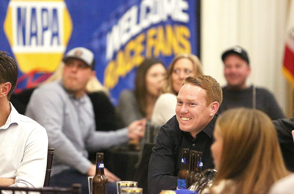 World of Outlaws 2019 Sprint Car series champion Brad Sweet, who hails from Grass Valley, smiles from his table while surrounded by family, friends, and supporters he's encountered along the way in his racing history.