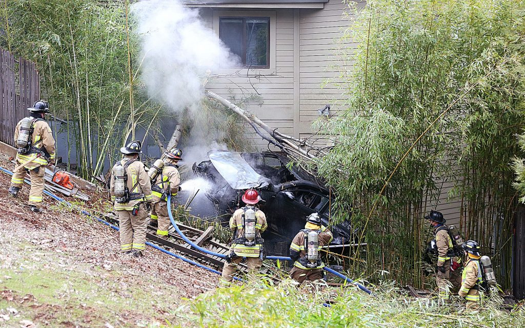 21) A vehicle careened off of Ventana Sierra Drive and into a home before catching fire in the Morgan Ranch area of Grass Valley in March.
