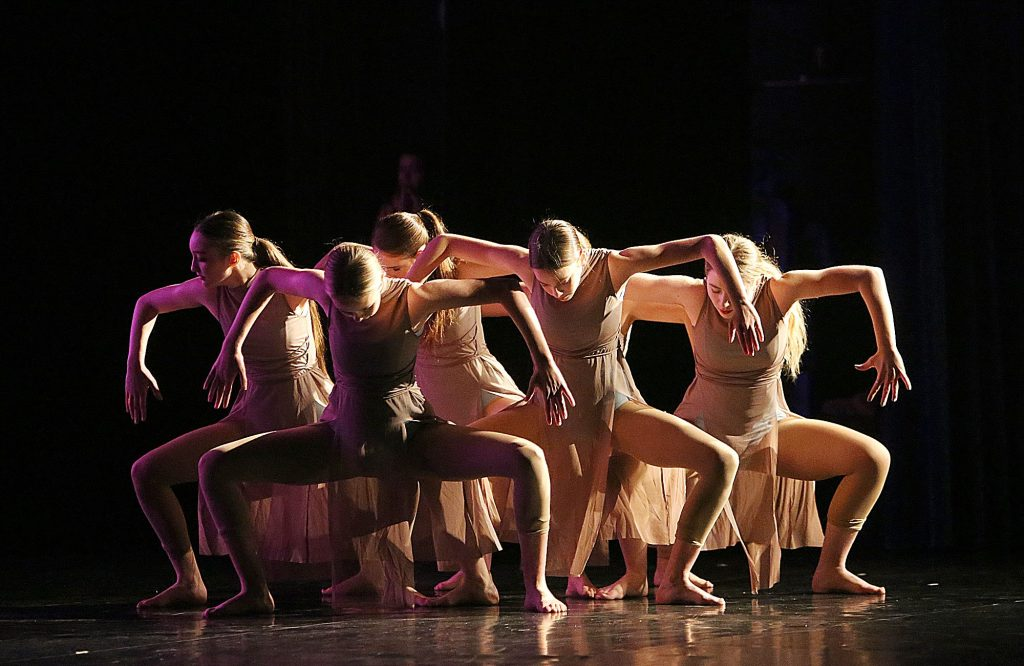 18) Dancers Eva Anderson, Olivia Andrews, Jaque Long, Elise Rodriguez, Charlotte Stehmeyer and Eve White perform a choreographed dance by fellow Nevada Union High School student Mia Mahurin titled