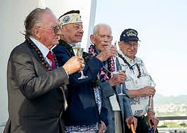 Four of the nine remaining USS Arizona survivors, Donald Stratton, left, Louis Conter, John Anderson, and Lauren Bruner, in 2014 toast in honor of fallen shipmates and service members of the Dec. 7, 1941 Japanese attack on Pearl Harbor aboard the USS Arizona Memorial at Joint Base Pearl Harbor-Hickam. The four Pearl Harbor survivors announced this year's USS Arizona Reunion Association ceremony to be the final of its kind. The final toast symbolizes the brotherhood and sacrifice of the day of the attack on Pearl Harbor 73 years ago. More than 2,500 guests, including Pearl Harbor survivors and other veterans, attended the National Park Service and U.S. Navy-hosted joint memorial ceremony at the World War II Valor in the Pacific National Monument.
