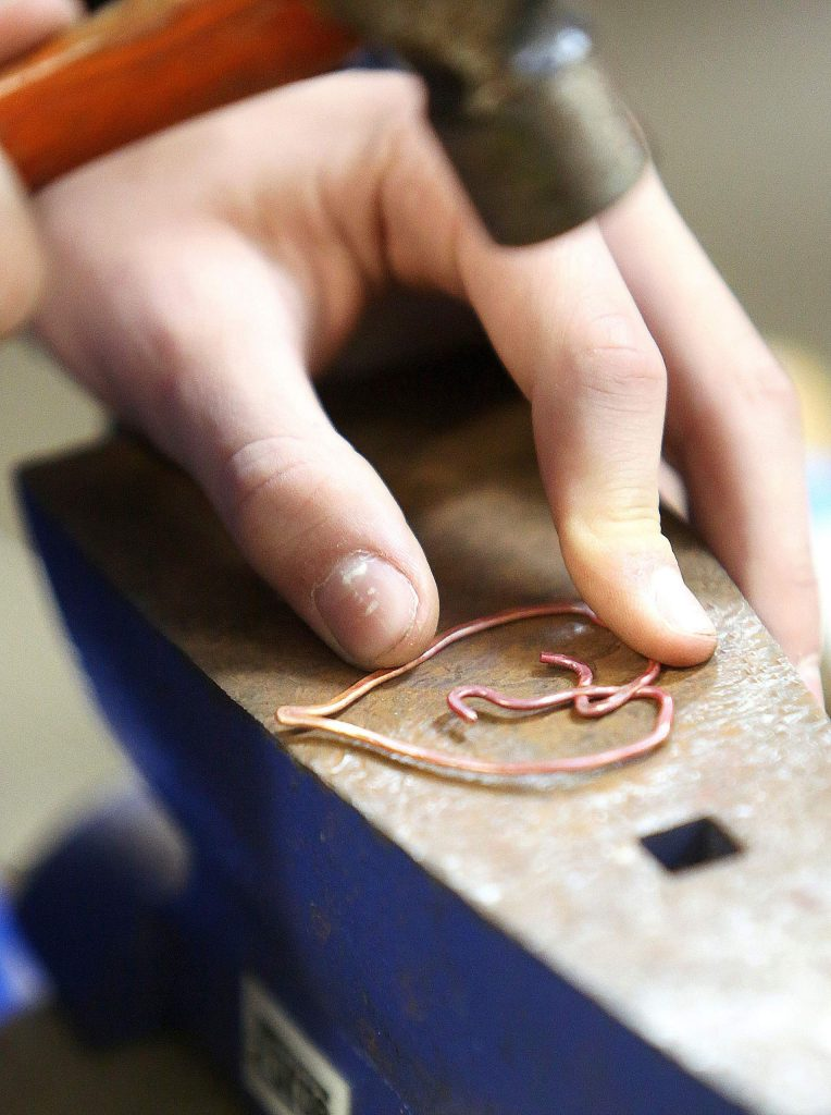 A handful of area youth got to test their mettle Tuesday afternoon at the Curious Forge maker space where a Copper Working Youth Workshop was held by resident artist Vlatka Varga.