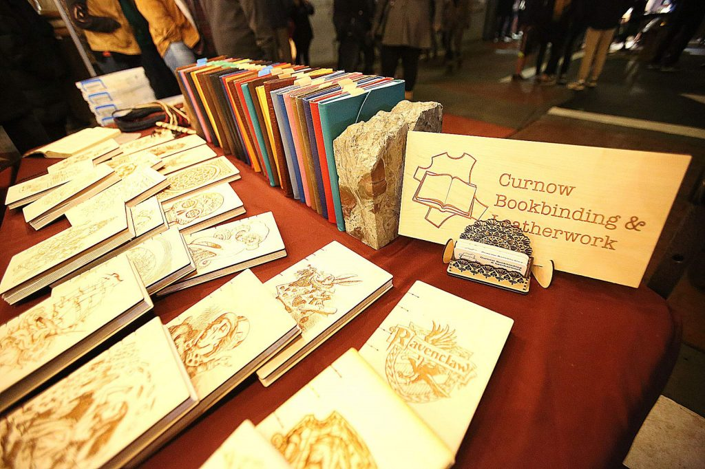 Curnow Bookbinding and Leatherwork have their display of decorated leather bound journals and more at this year's Cornish Christmas'.