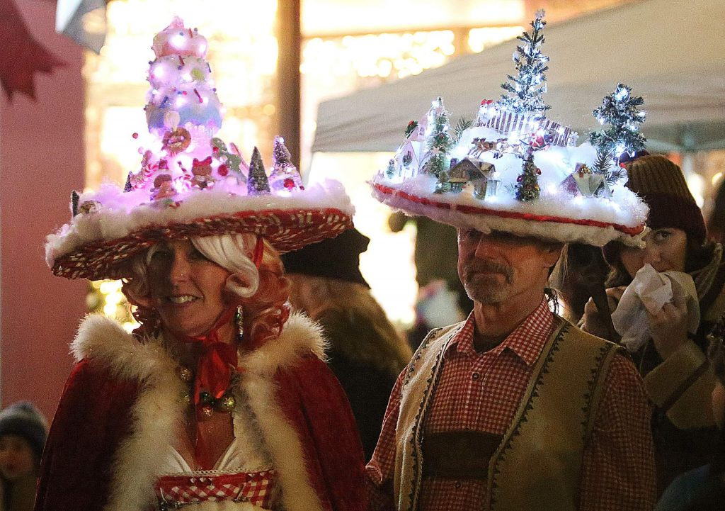 Brad and Colleen Carson of Grass Valley show up every event dressed to impress, including Friday's Cornish Christmas where the two donned hats with miniature Christmas scenes embedded into them.