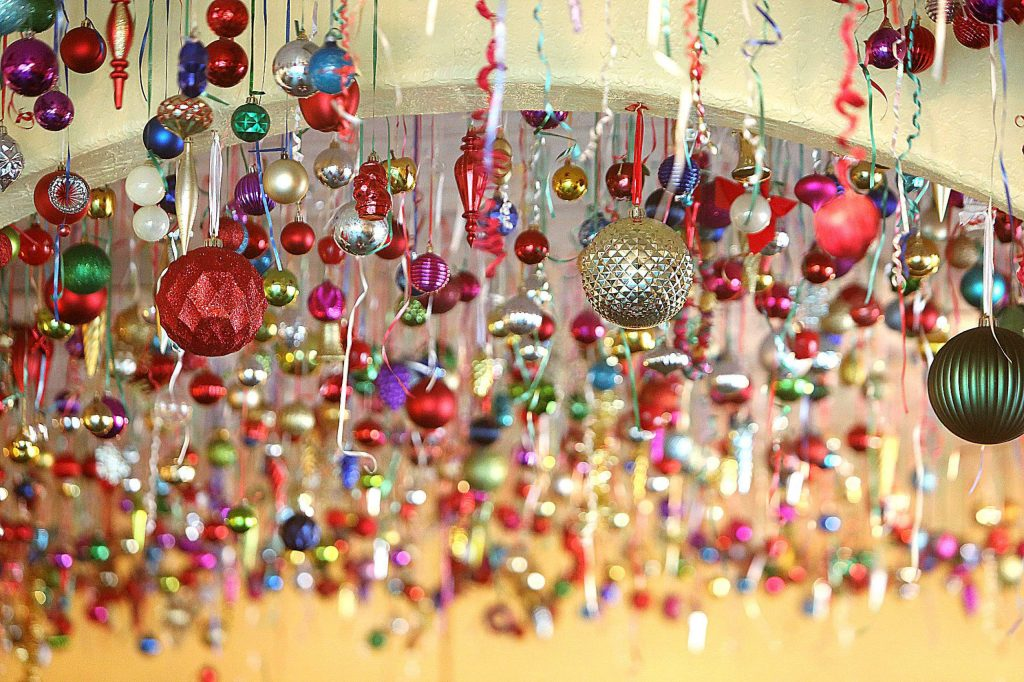 Thousands of Christmas tree ornaments hang from the ceiling at Margarita's Mexican restaurant for the holidays, a task that takes a group of people 60-man hours to install for the tradition that dates back about 30 years.
