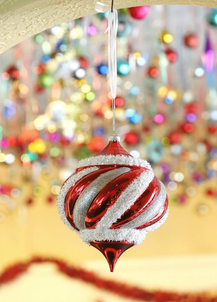 The annual Christmas tree ornament display is up by Thanksgiving every year and comes down by New Year's Day.