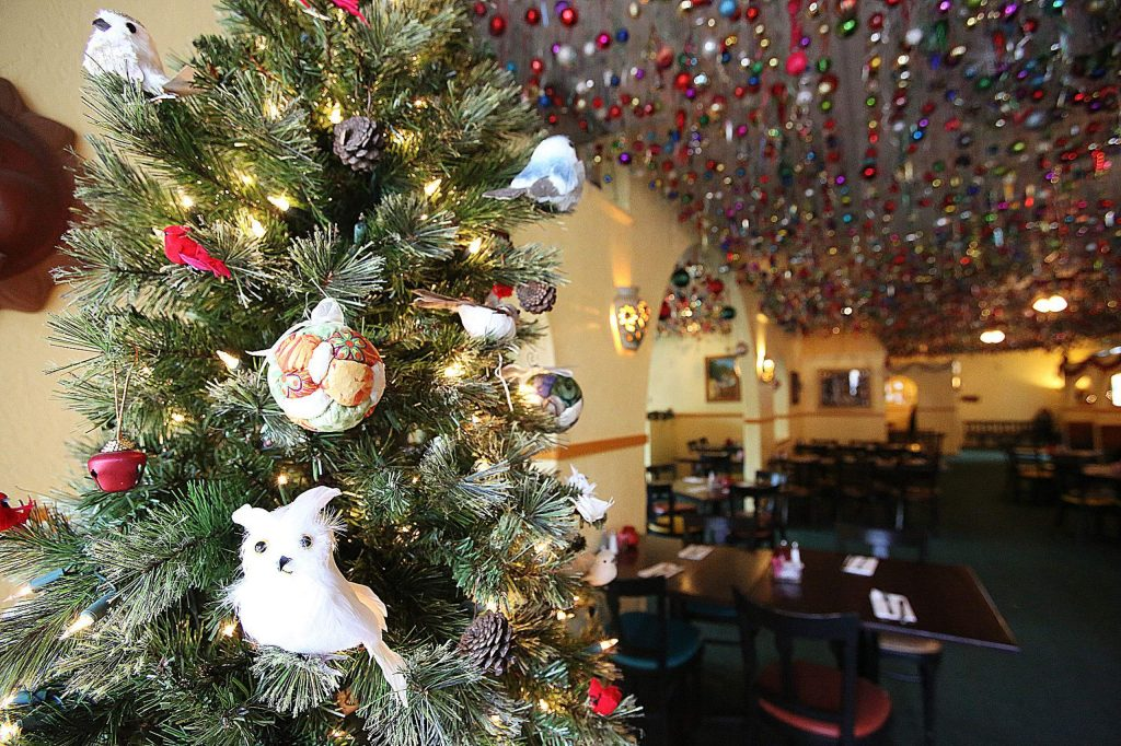 It isn't all ornaments at Margarita's. This Christmas tree is decorated with owls at the restaurant.