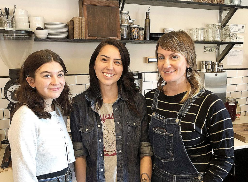 From left, Fable Coffee barista Lilly Stone, manager Ashley Brynes and owner Amanda Daley.
