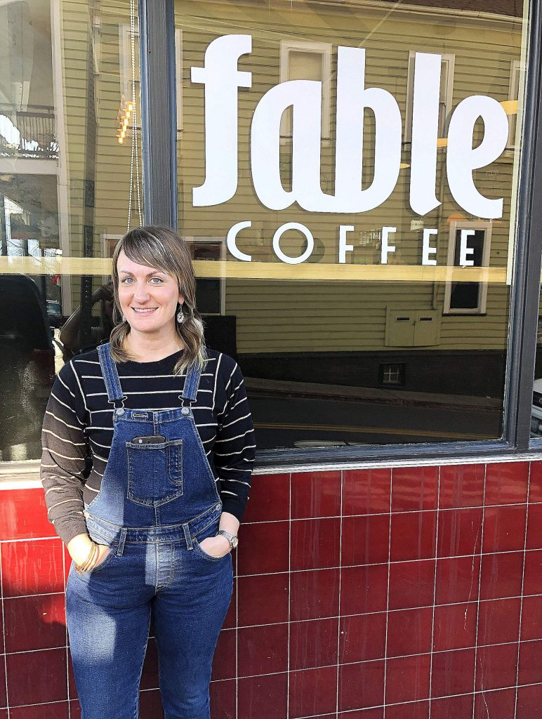 Fable Coffee owner Amanda Daley stands outside her coffee bar in downtown Grass Valley.