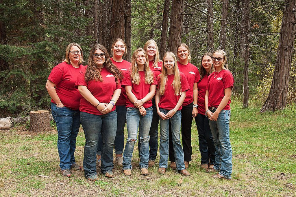 Nevada Union High School students recommended forest management options for a mixed conifer forest parcel at the 2019 Shasta Forestry Challenge. Front row: Kambree Thompson, Emalee Oistad, Kaylee Bringolf, Harlie Deschaine. Back row, left to right: Katie Alling (advisor), Izabella Votino, Alyssa Hard, Hannah Funk, Addie Angle.
