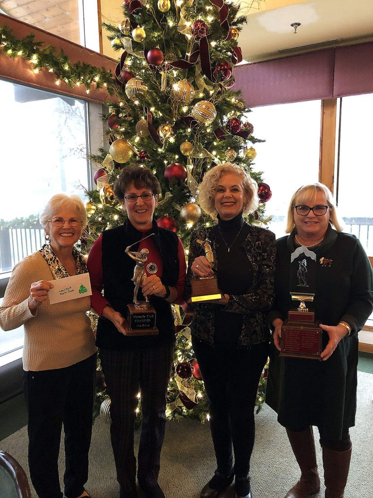 Marti Jones (Low Net), Doreen Lewallen (Club Champion), Wendy Weiss (Player of the Year) and Liz Coots (Most Improved Player) were honored for their play throughout 2019.