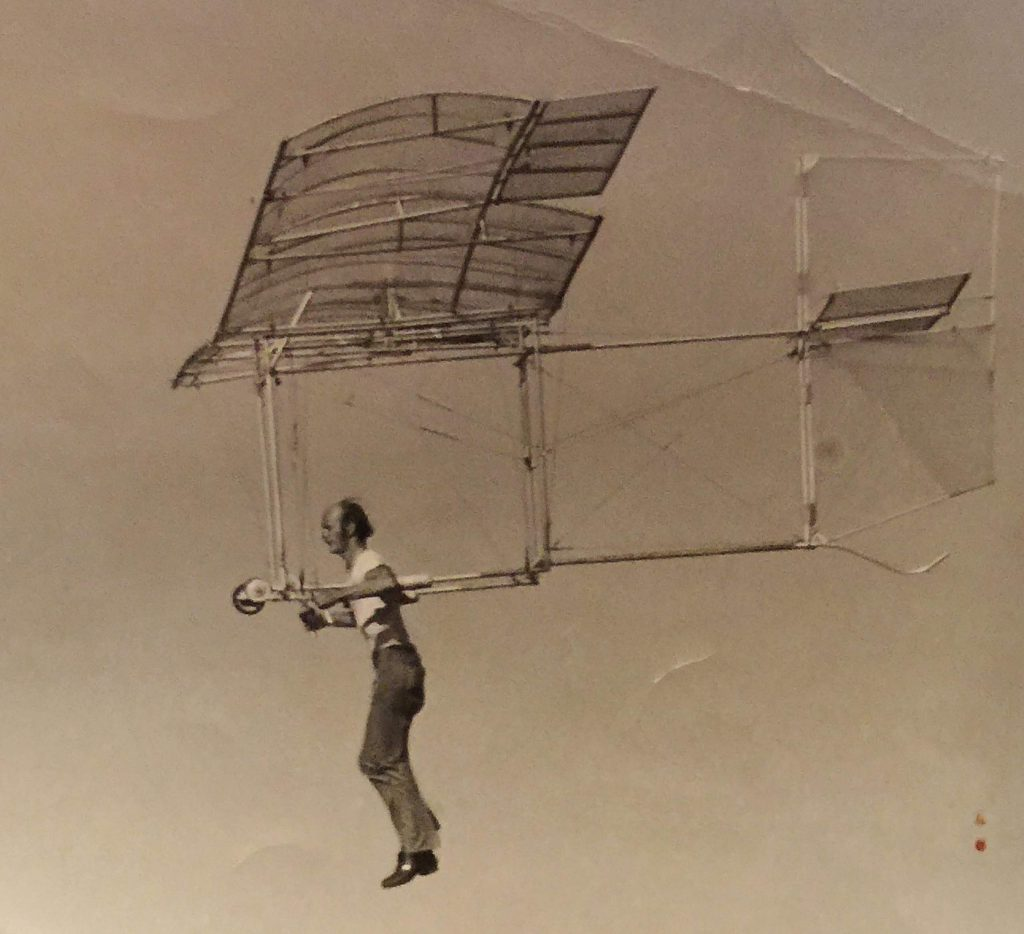 Frank Kerner takes his early 1970s maiden flight in his hang glider, made from tarps taped to lawn chair tubing.