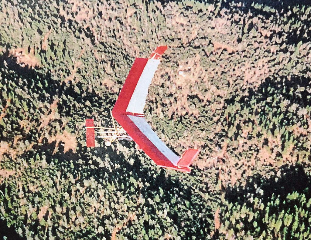 Frank Kerner flies high above Browns Valley in his ultralight. Taken in 2002, this image was captured  by a friend, also flying an ultralight.