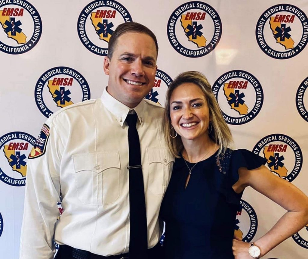 Richard Wilson, left, poses with his wife, Candace, at the Dec. 4 California Emergency Medical Services Authority luncheon in San Francisco.