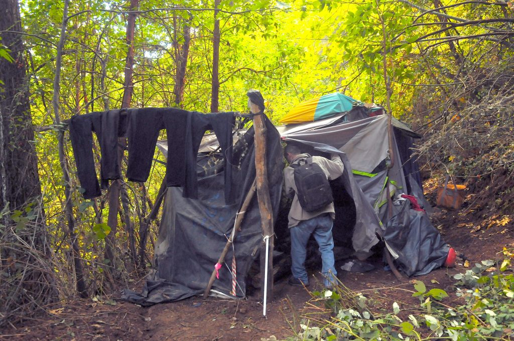 A homeless man enters his encampment in rural Nevada City in October of 2016. Organizers are currently seeking volunteers and donations for the annual Nevada County homeless count set to take place Jan 24.