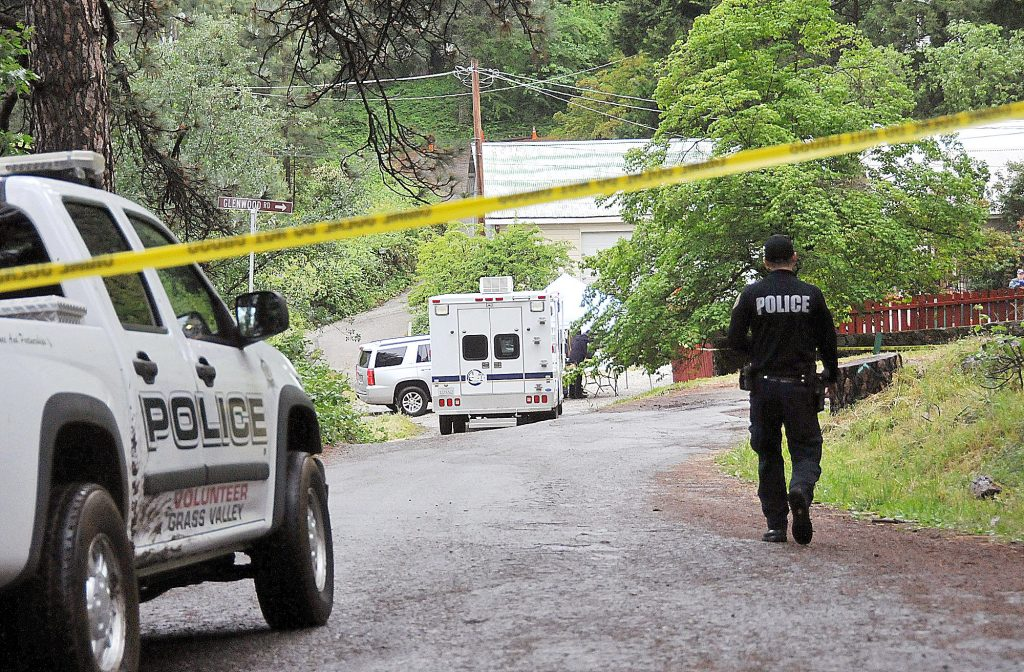 39) Grass Valley police work the scene of a double homicide at Glenwood and Charlene Way in the Glenbrook basin in May. Michael Pocock is currently on trial for shooting David Dominguez and Rabecca Mershon.