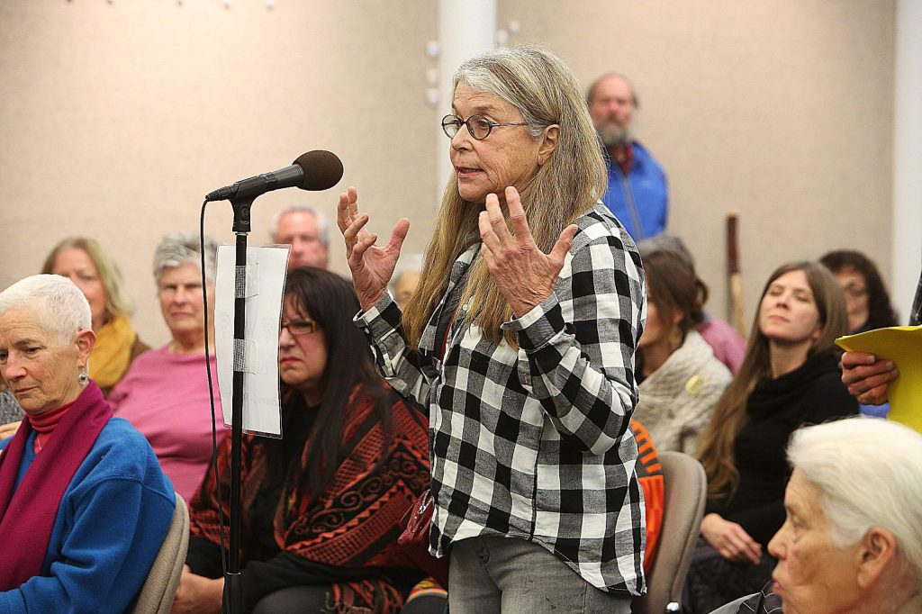 Former Nevada City Mayor Evans Phelps addresses Mayor Reinette Senum and the council regarding comments that got Senum in trouble back when Phelps was on the council.