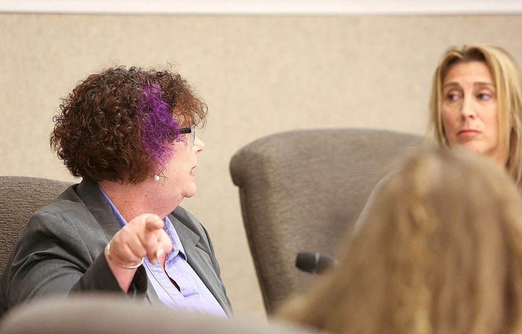 Nevada City Councilwoman Erin Minett points to City Manager Catrina Olson while telling Mayor Reinette Senum that all freedom of information requests must go through the city manager's office. Minett brought up the issue of Senum releasing city documents to citizens without city authorization.