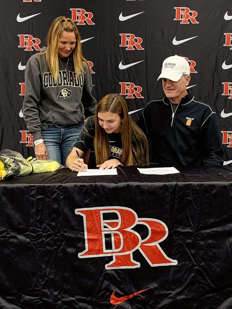 Bear River's Sarah Aanenson signed her National Letter of Intent to attend the University of Colorado and compete on the Buffaloes track and field team in late November.