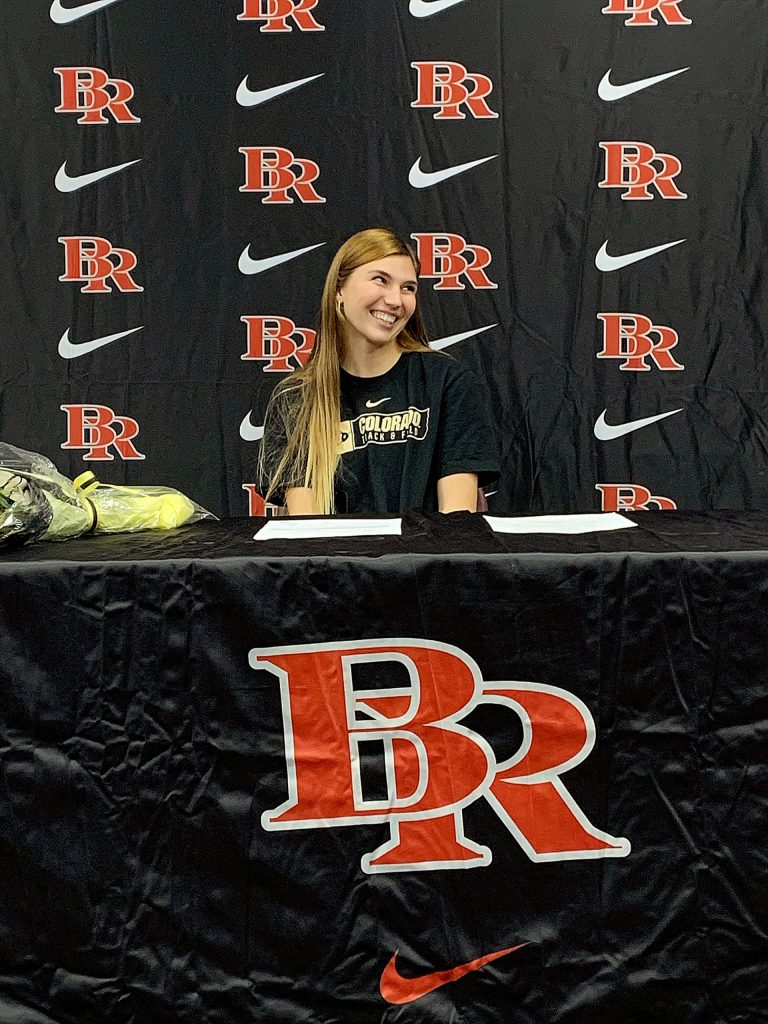 Bear River's Sarah Aanenson signed a National Letter of Intent to attend the University of Colorado and compete on the Buffaloes track and field team in late November.