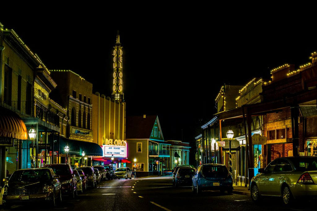 Nighttime in Downtown Grass Valley has a holiday season feel, won another Second Place at the Nevada County Fair, and reminds us how picturesque our historic towns are.