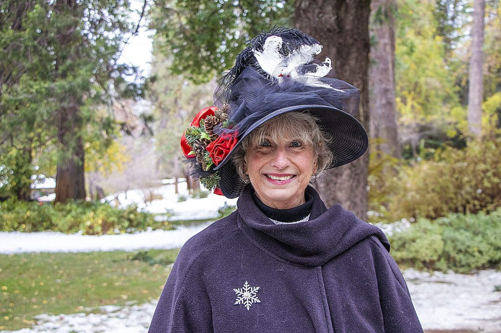 Marcia, a docent, all dressed up to sell the park's Heritage roses to guests.