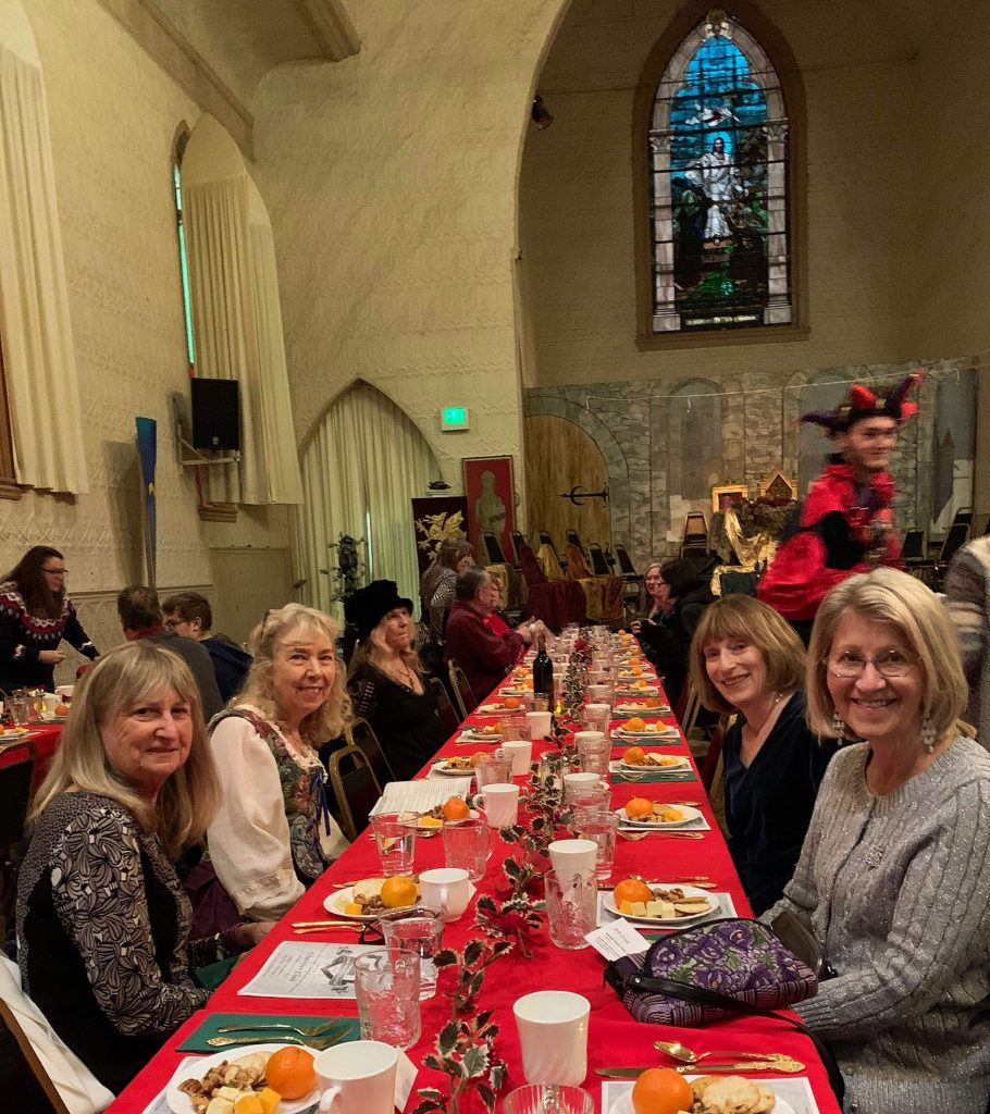 Friends enjoying the madrigal dinner performed by Nevada Union High School students and held at Saint Joseph's Cultural Center on Saturday, December 7, 2019.