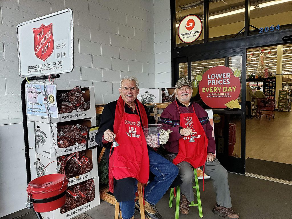 Grass Valley Rotary Club members Ken Holbrook and John Peplowski ringing for Salvation Army.