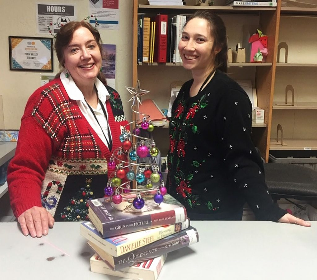 Penn Valley's lovely librarians in holiday gear.