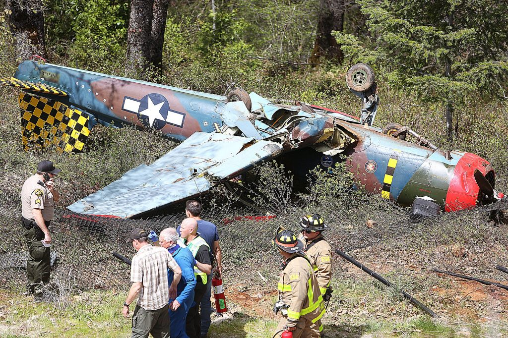 1) The fuselage of a 1989 Nanchang CJ-6 sits upside down and damaged after a braking system failure sent the plane over the end of the runway at the Nevada County Airport on April 19.