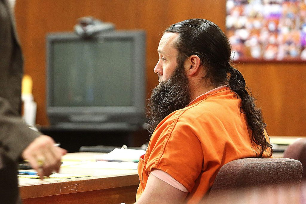 Michael F. Pocock sits in the Nevada County Superior Court Tuesday morning as the preliminary hearing into evidence regarding his double murder trial gets underway. Pocock is being charged with first degree murder for the shooting deaths of Rabecca Mershon and David Dominguez on the night of May 20, 2019.