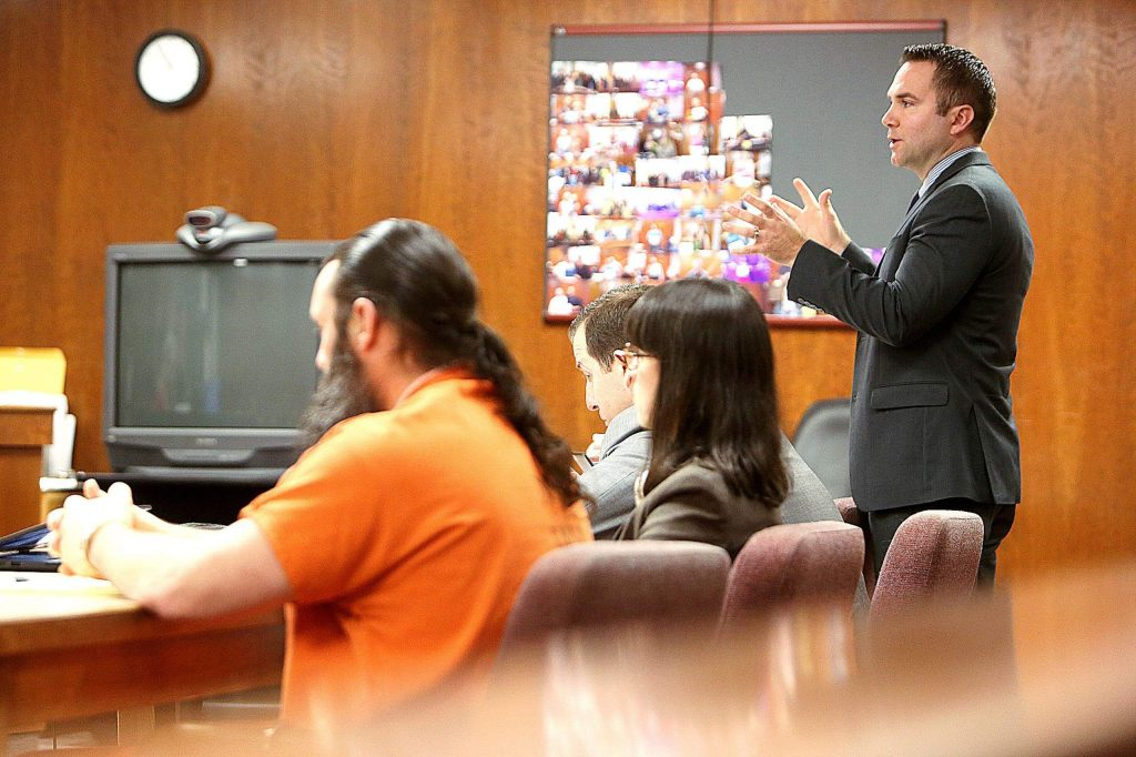 Nevada County Assistant District Attorney Chris Walsh addresses witnesses on the stand during Tuesday's preliminary hearing.