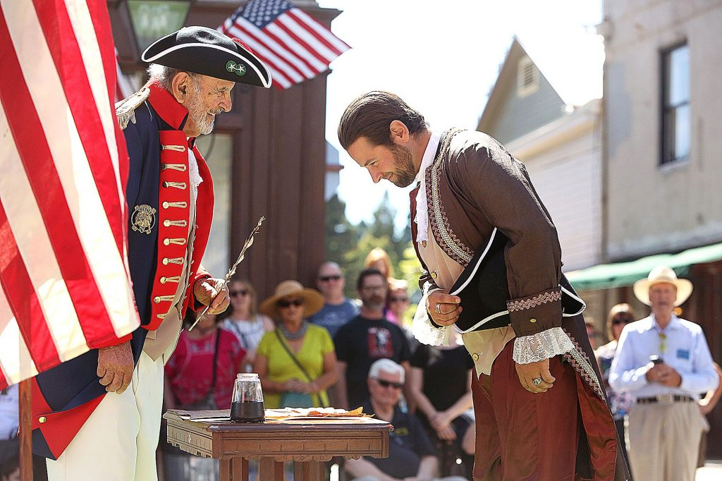 12) Members of the local Nevada Lodge of Free Masons help to re-enact the signing of the Constitution prior to the annual parade of the Famous Marching Presidents on Constitution Day.