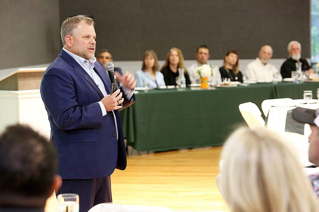 Superintendent of Nevada Joint Union High School District Brett McFadden spoke about a variety of topics at the State of the District on Oct. 8. McFadden has prioritized trauma-informed, restorative practices for his district.
