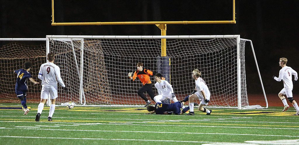 One of a handful of Nevada Union scores on goal against the Bear River Bruins.