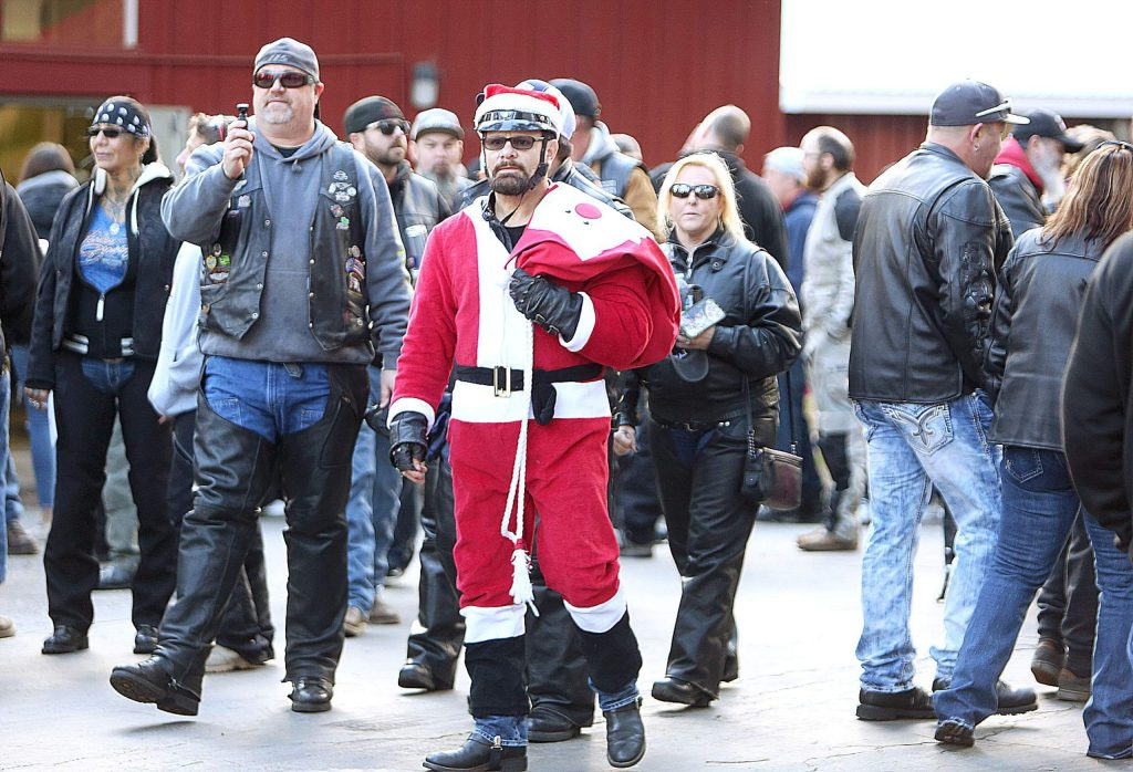 Citrus Heights' Roger Gross dons a Santa biker outfit during Saturday's Food and Toy Run.