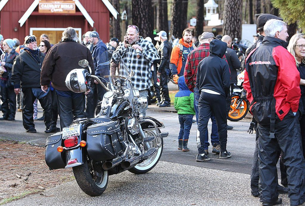 Hundreds if not thousands of motorcyclists from as far away as Nevada and Oregon passed through downtown Nevada City and Grass Valley en route to the Nevada County Fairgrounds where the gifts they carried were dropped off to be distributed to area families.