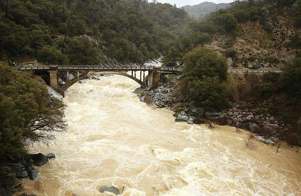 The South Yuba River flows high with rain and snow runoff during Thursday's precipitation event in Nevada County.