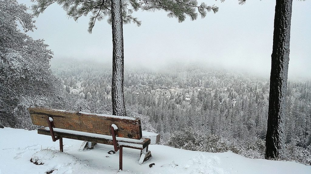 3) Snow clouds cleared over Nevada City on a February morning, visible from Sugarloaf Mountain. A few inches of low snow left the area a winter wonderland. Snowfall accumulated in areas as low as Alta Sierra over that weekend.