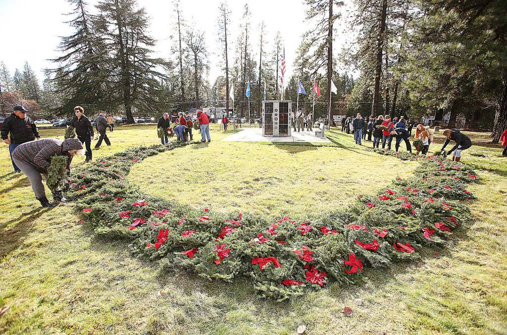 Hundreds of wreaths were fundraised for prior to Saturday's ceremony by the John Oldham Chapter of the Daughters of the American Revolution and members of the community.