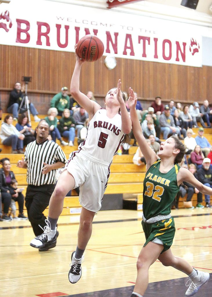 Bear River sophomore Julia Pisenti (5) makes a fast break layup during the Bruins' matchup against Placer at home Tuesday.