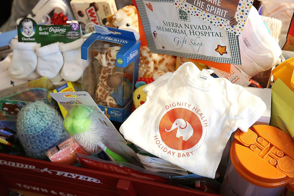 A red wagon full of essentials for baby and some treats for mom was presented to Nevada County's first born child of 2020 Friday at Sierra Nevada Memorial Hospital in Grass Valley.