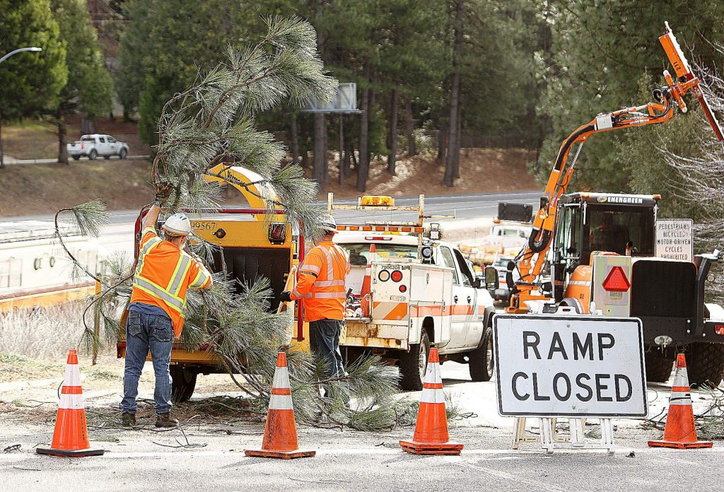 Caltrans District 3 Sierra Area workers have been busy with tree limb removal along the westbound on-ramps of the Golden Center Freeway through Nevada City, as seen Wednesday afternoon where the Sacramento Street on-ramp was closed to traffic.